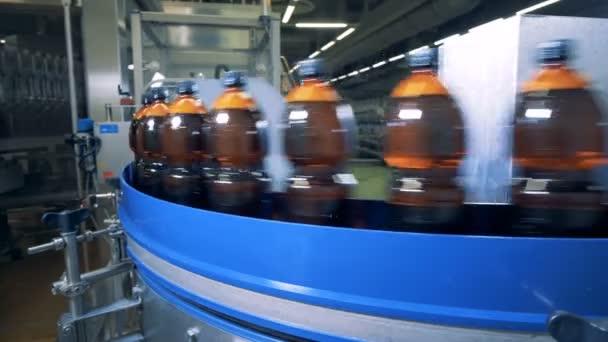 Förderband transportiert mit Bier gefüllte Plastikflaschen