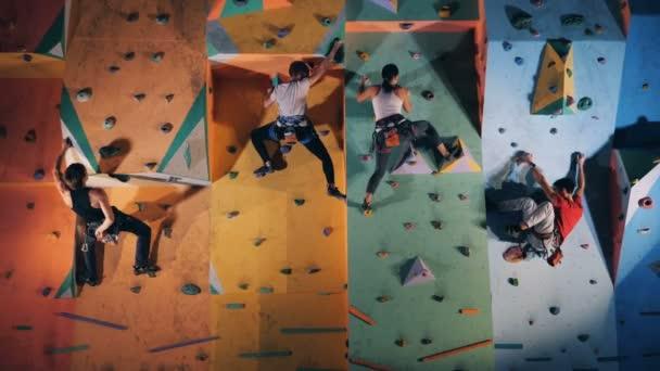 Lidé na lezeckou stěnu ve výcvikové středisko, zblízka.