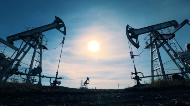 Oilfield equipment in work, close up.