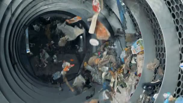 Factory equipment works, recycling lots of used trash. HD.