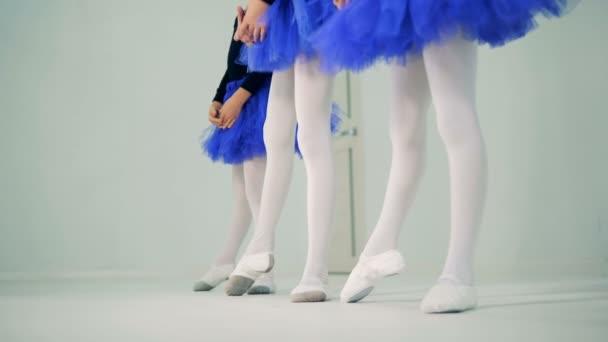 Little girls legs in process of doing ballet exercises