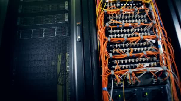 Database servers connected with orange wires