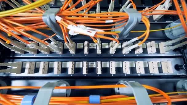 Schlitze der Datenserver mit einer Menge von Drähten, die an sie angeschlossen
