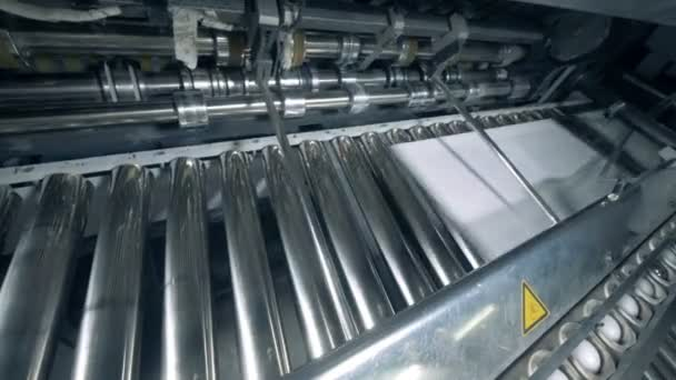 Issuing of printed paper onto the rolling conveyor