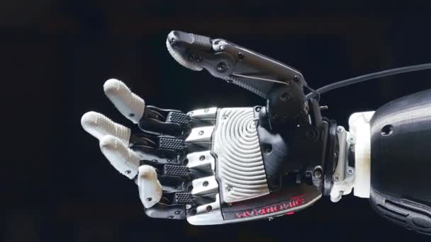 Prosthetic hand moves fingers, cybernetic equipment.