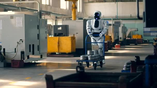 Factory premises with a cyborg pushing a trolley forward