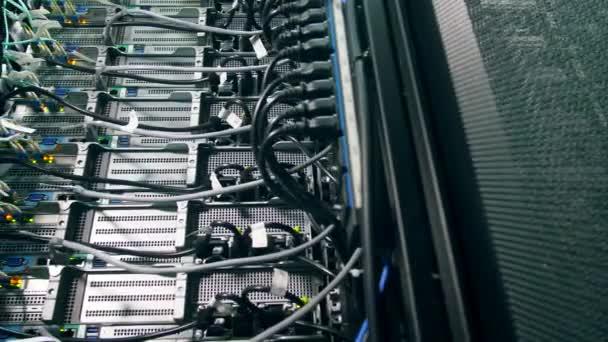 Server mit Drähten und zänkischen Lichtern. modernes Rechenzentrum.