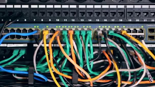 mehrere Kabel mit Steckplätzen verbunden. modernes Rechenzentrum.