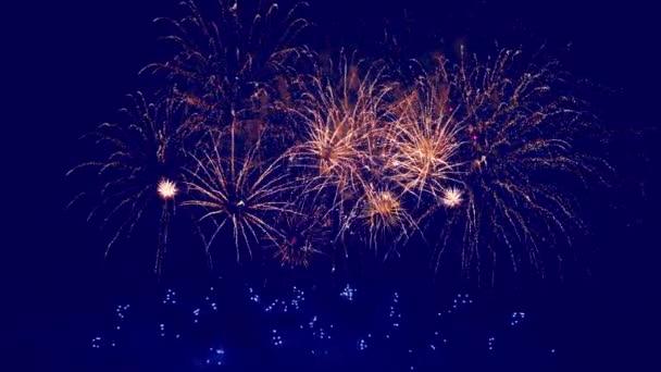 Festliches Feuerwerk am Nachthimmel