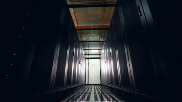 Server computers on racks at a big data center.