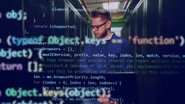 Místo na serveru s mužským programátorem a kódem, který se na něm objevuje