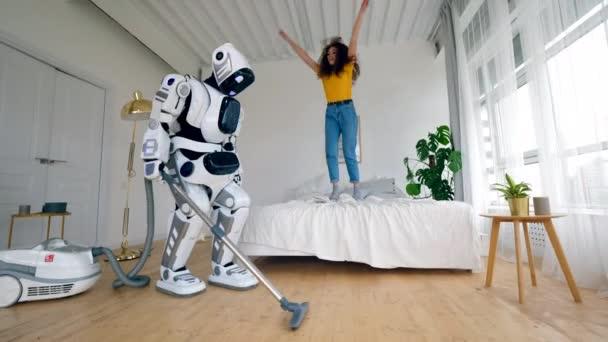 gluecklich kuenstliche junge heiter technologie maschine