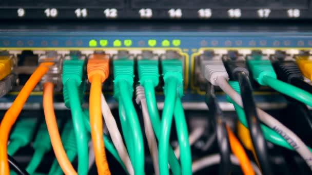 Computerkabel in nummerierte Steckplätze gesteckt