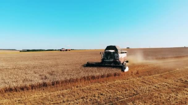 Working harvester driving on a field, plowing crops.