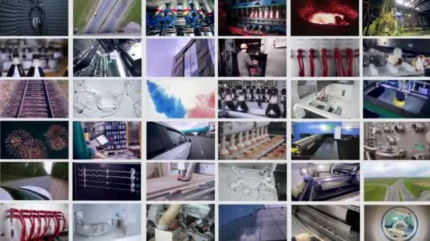 Ipari, orvosi, közlekedési felvételek többcsatornás bemutatása.