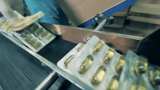 Worker picks blisters with capsules from a conveyor. Pharmaceutical factory production line.