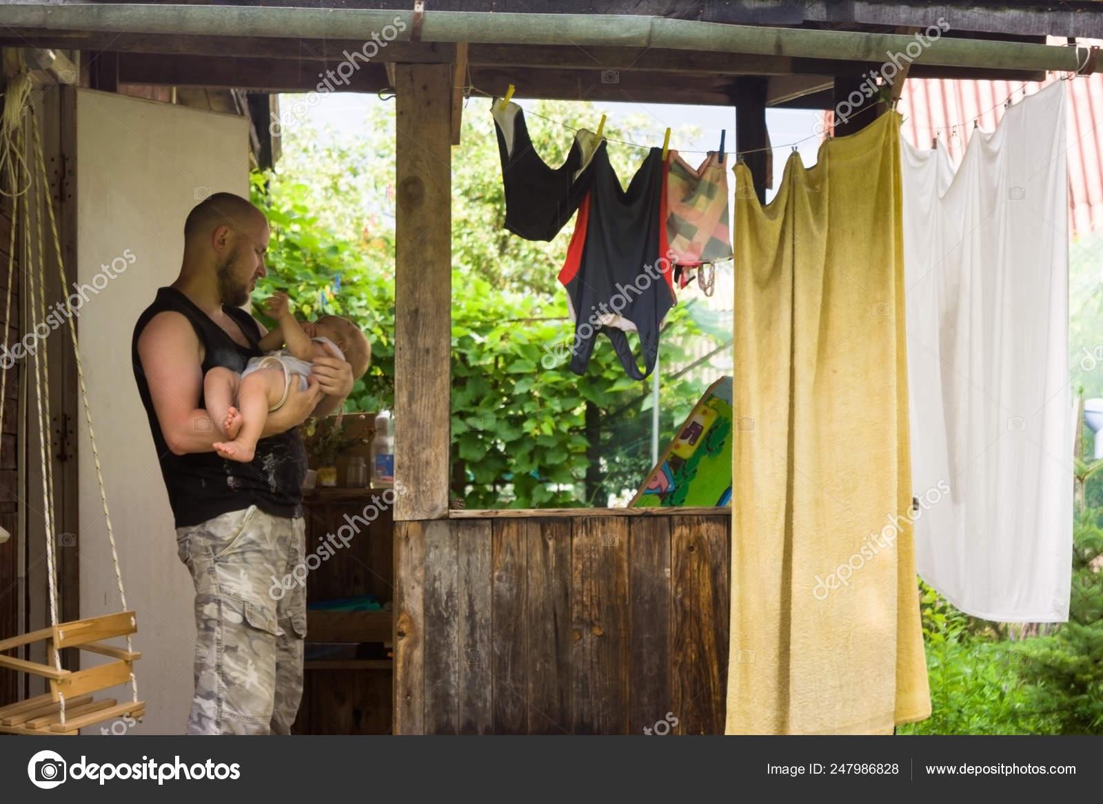Vivienda Unifamiliar Madera Simple Pueblo Padre Los Niños