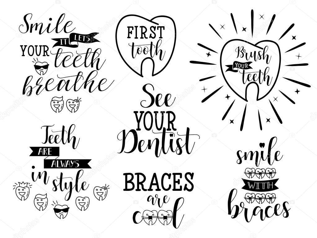 Conjunto Dentes Higiene Bucal Dentistas Ortodontia Rotulação