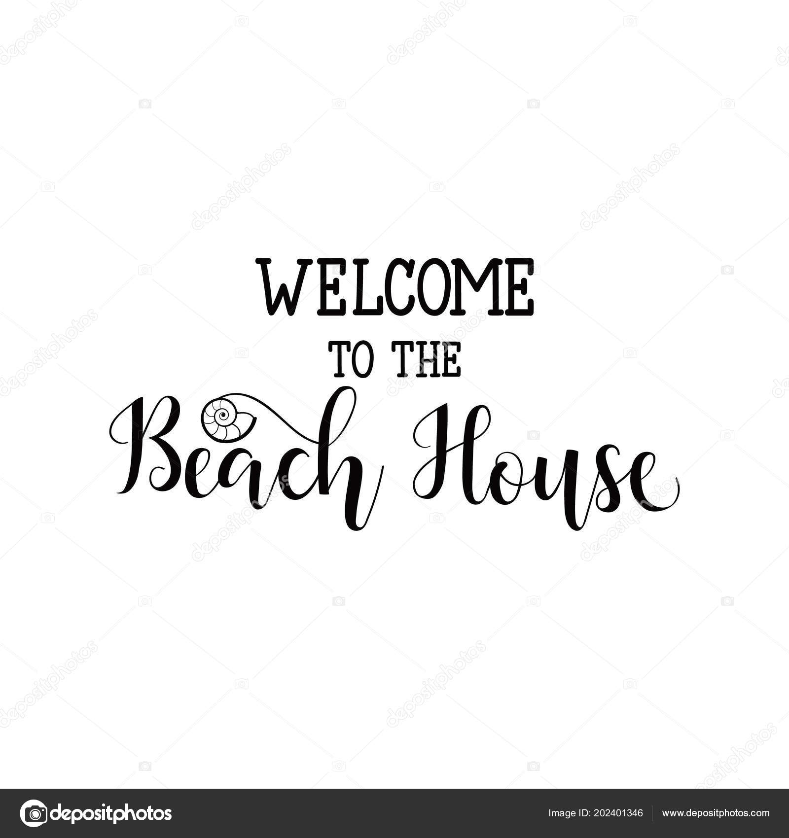 welcome beach house hand drawn vector illustration element flyers