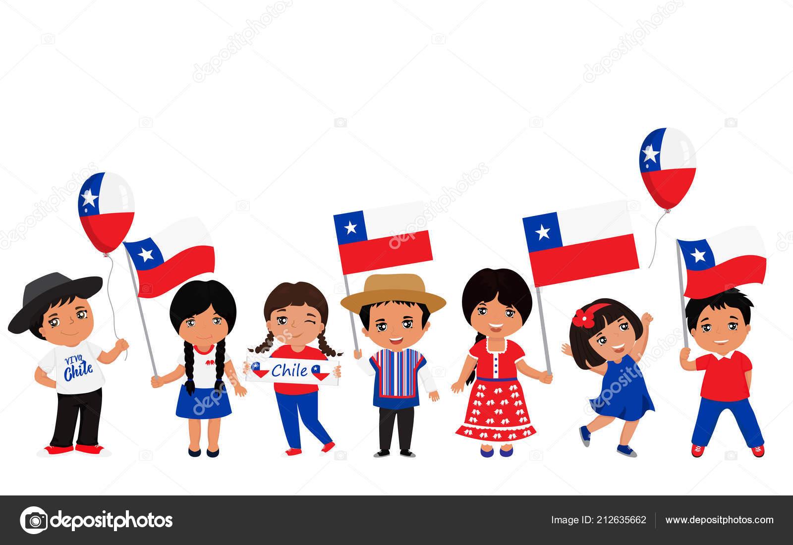 Niños Sosteniendo Las Banderas Chile Plantilla Diseño
