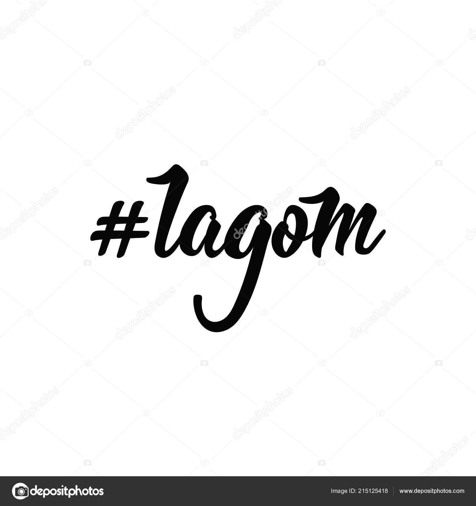 Hashtag Lagom Rotulação Mão Extraídas Ilustração Vetorial