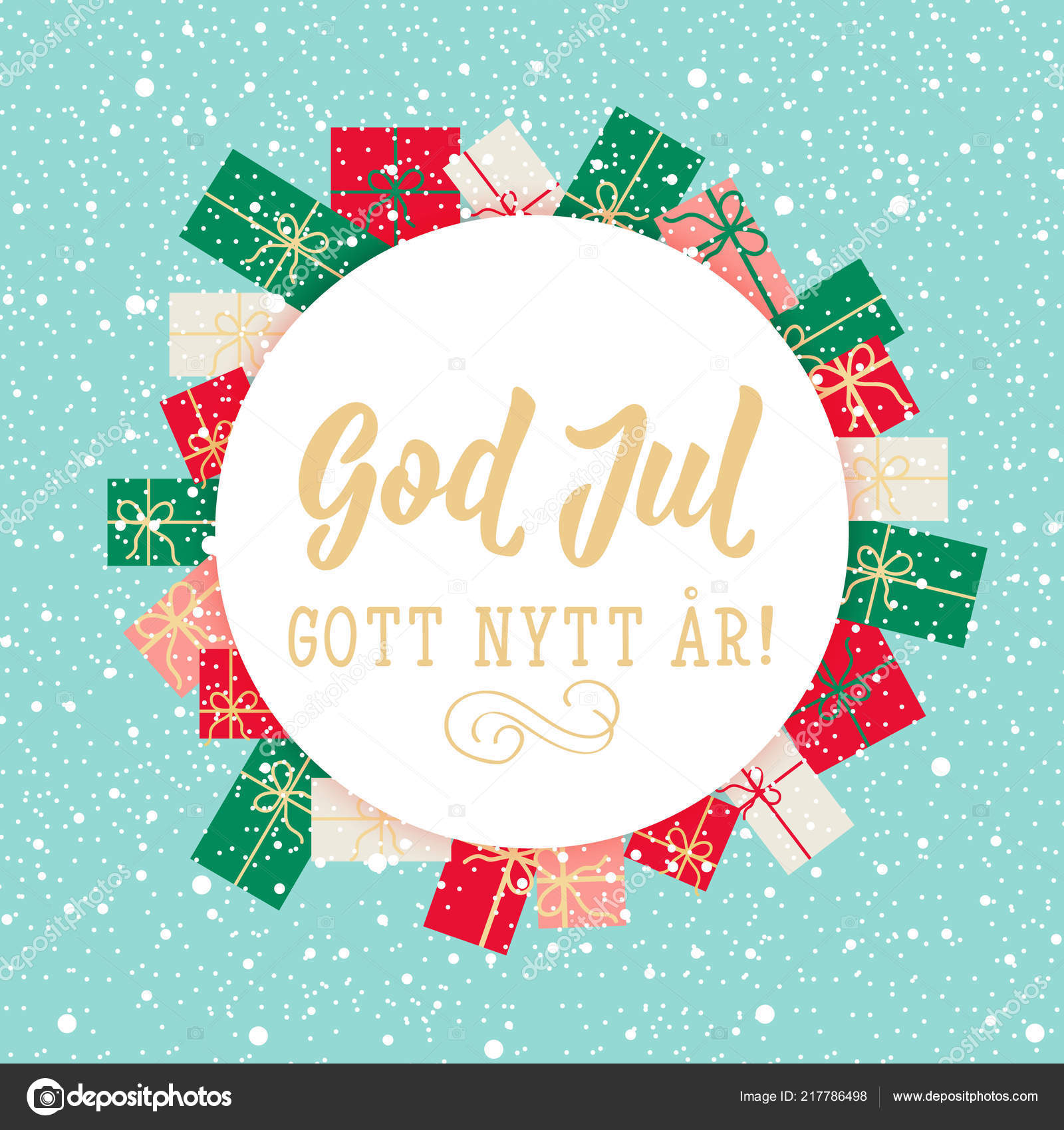 Christmas Card Swedish Text Merry Christmas Happy New Year Lettering U2014  Stock Vector