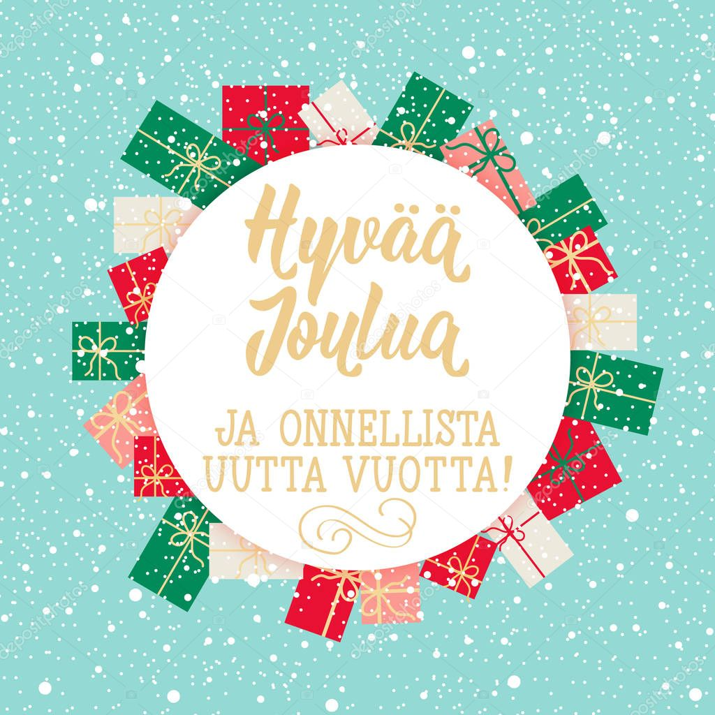 christmas card finnish text merry christmas happy new year lettering vector illustration element for flyers banner and posters modern calligraphy premium vector in adobe illustrator ai ai format encapsulated wdrfree