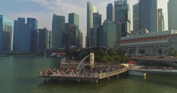 Singapore pond with tourists