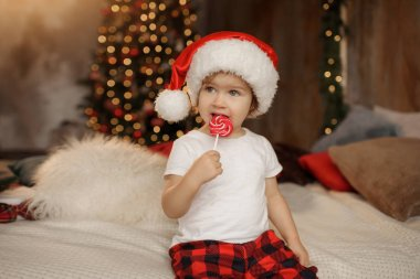 Little cute baby girl in Santa Claus hat is sitting in the room on the background of the Christmas tree and eating sweet candy on a stick