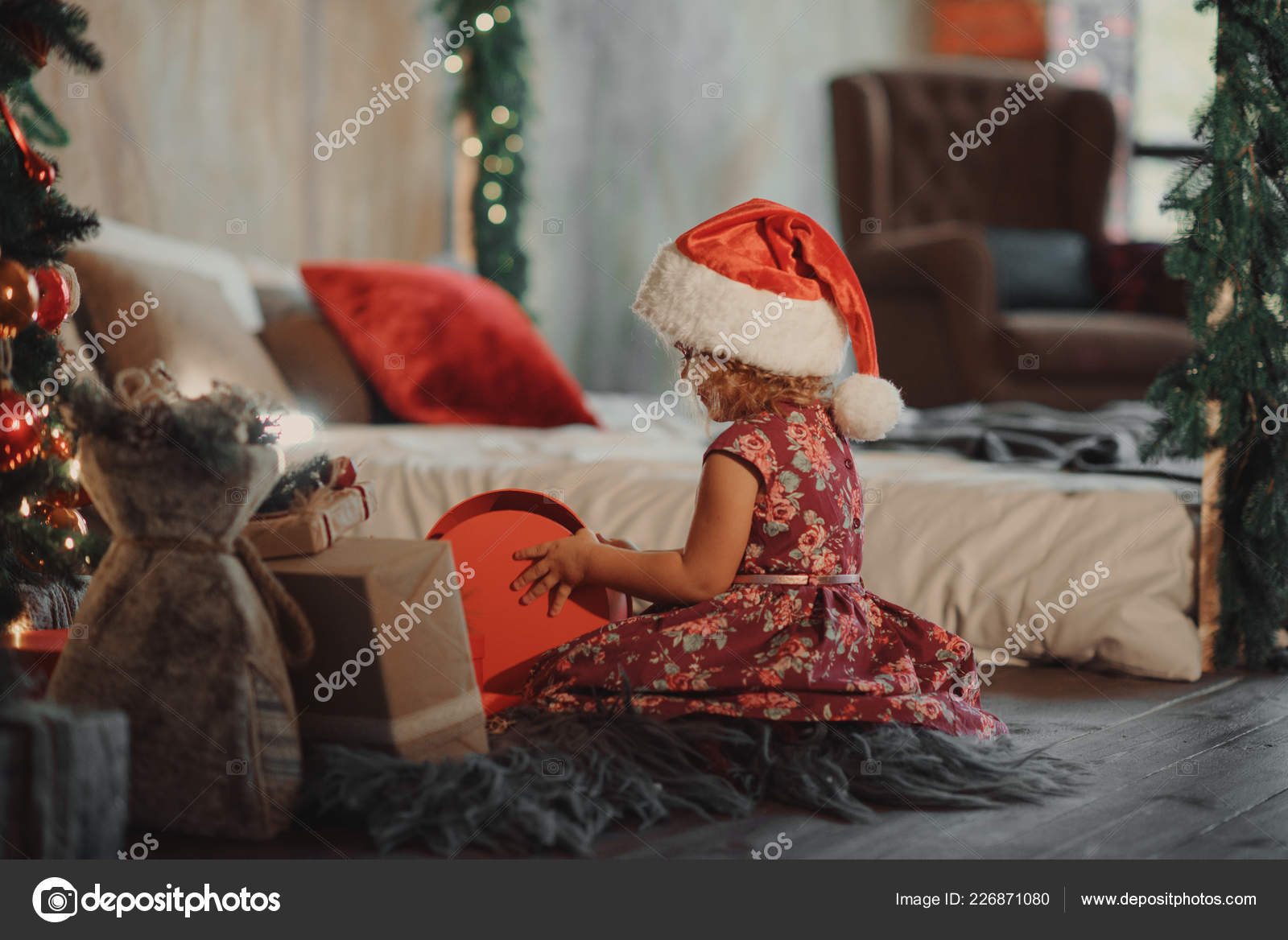 Little Cute Girl Sits Christmas Tree Looking Glowing Christmas Gift ...