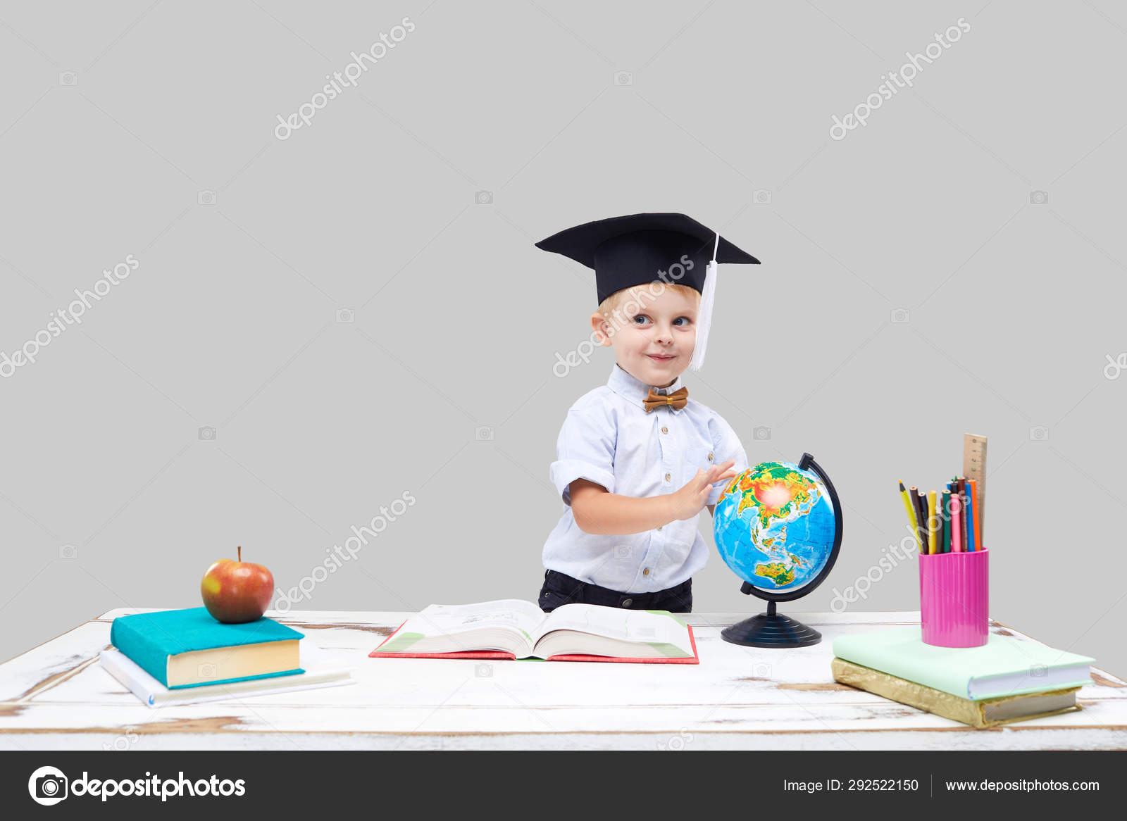 Clever Smart Child Prodigy Little Boy Hat Studying Geography