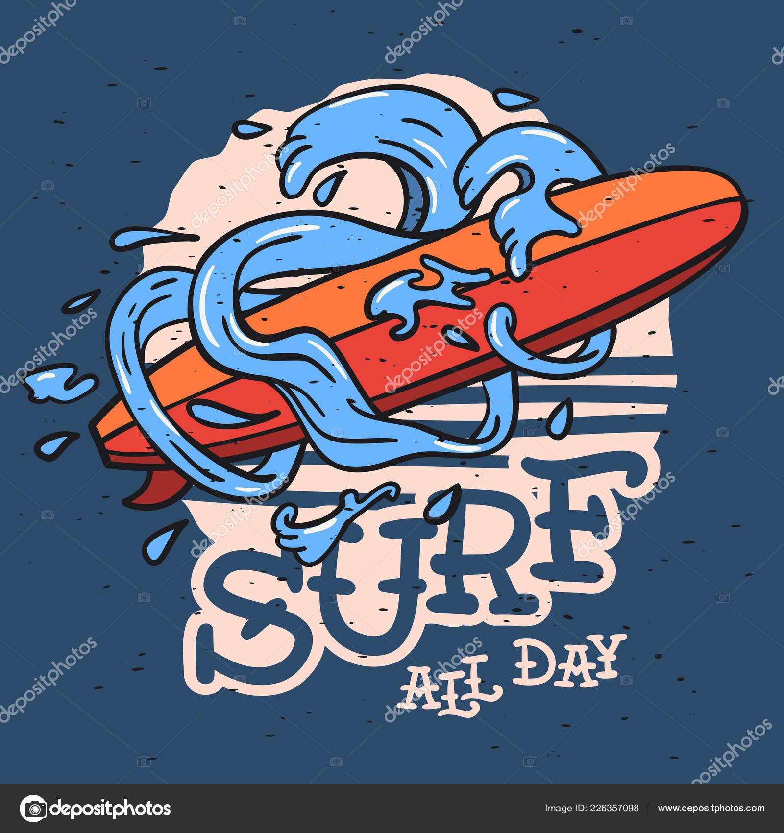 Surf Surf Temática Longboard Y Estilizado Agua Olas Y Gotas Mano