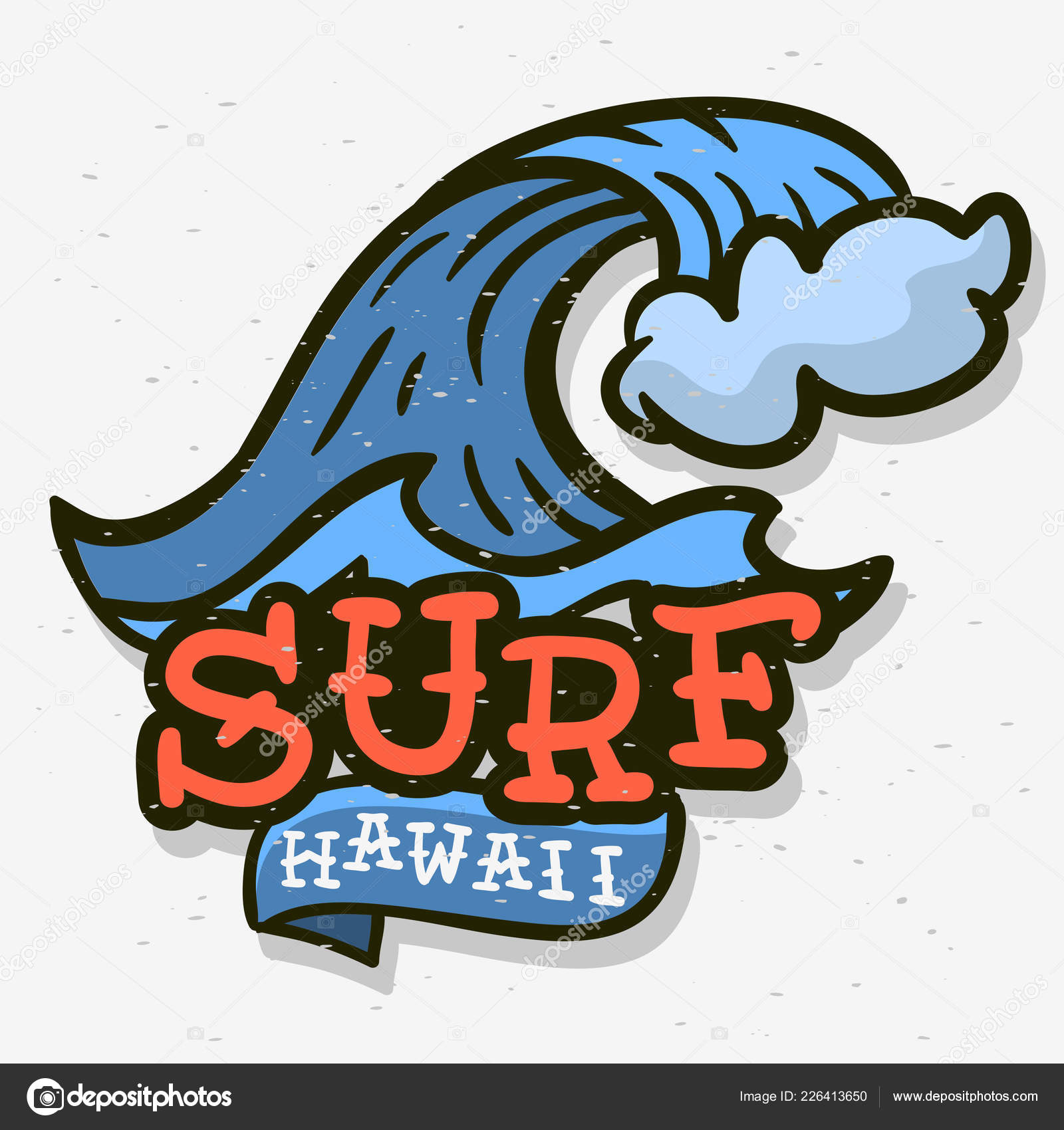 Surfing Surf Themed Hawaii Hand Drawn Traditional Old School Tattoo