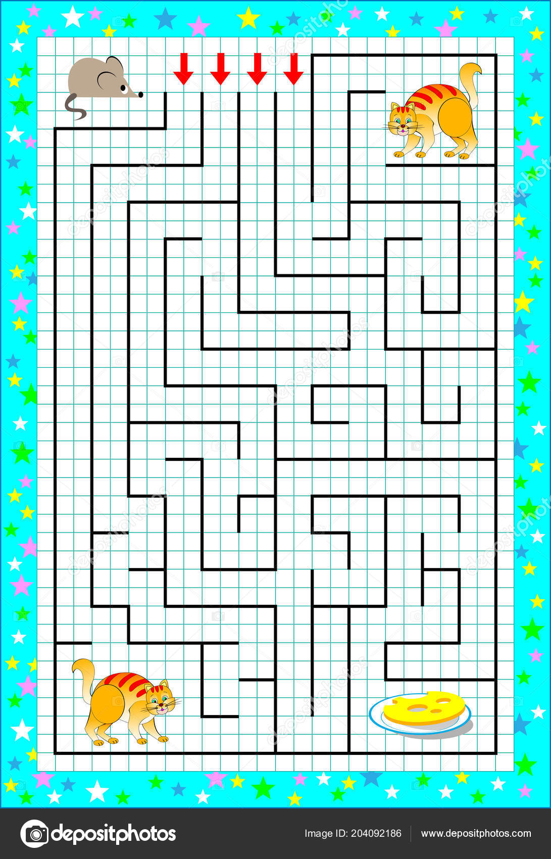 drawing games paper Logic Puzzle Game Labyrinth Children Square Paper Help Mouse