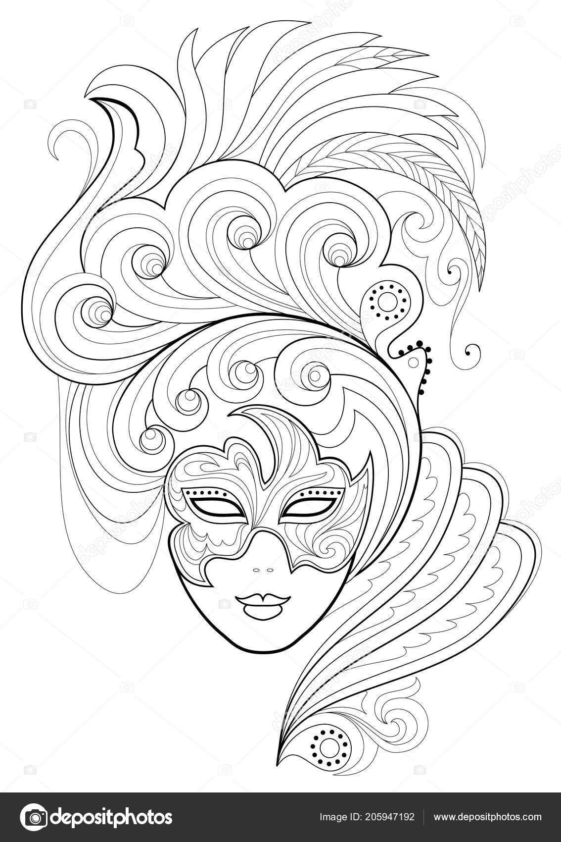Siyah Beyaz Sayfa Boyama Fantezi Kadının Suratına Bir Karnaval