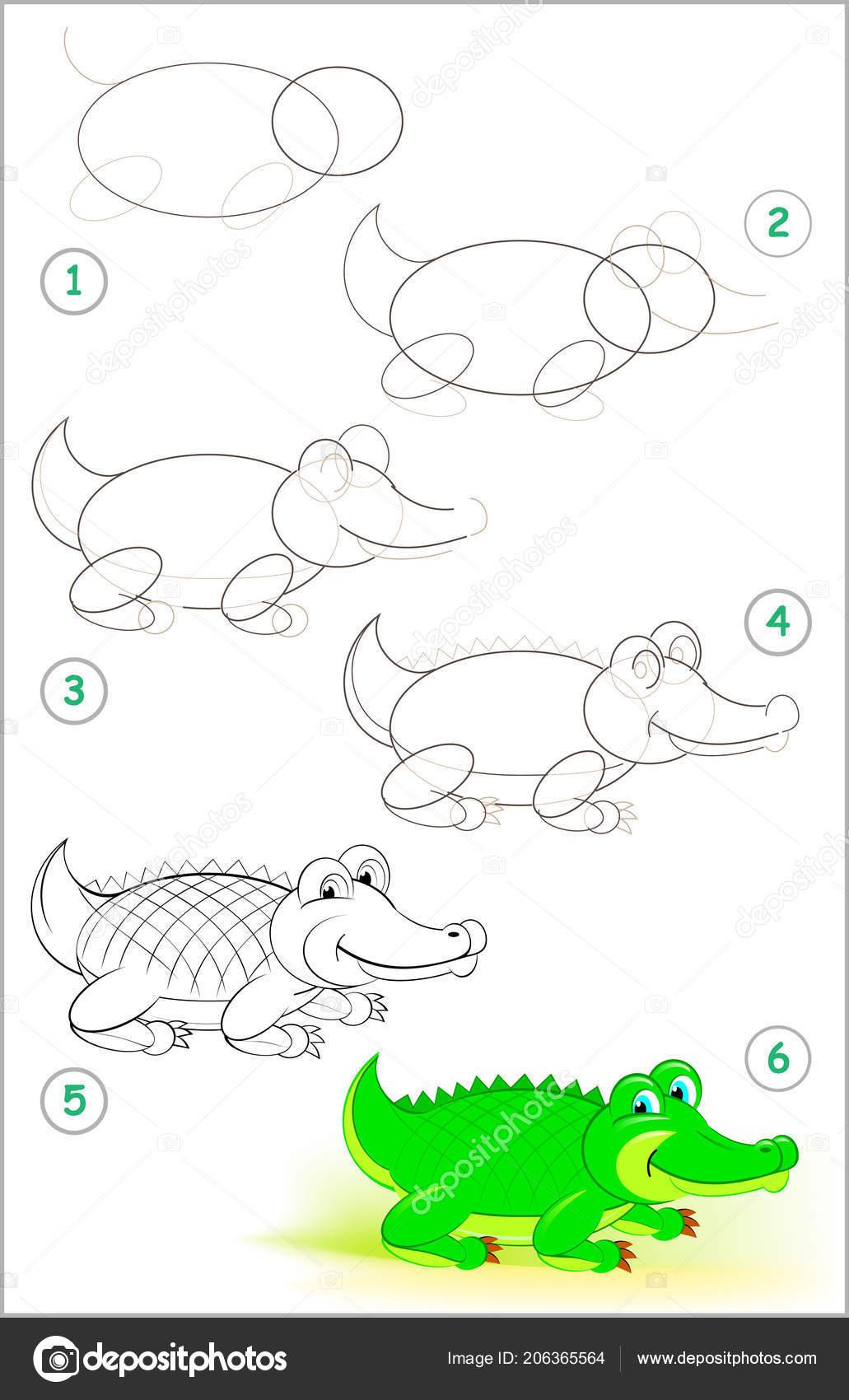 Pagina Mostra Come Imparare Passo Passo Disegnare Coccodrillo Carino