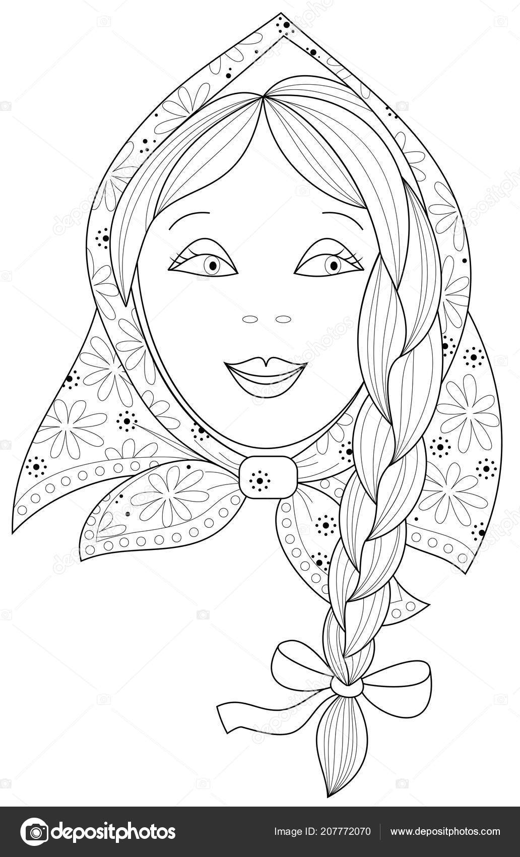 Black White Page Coloring Fantasy Drawing Beautiful Little Girl