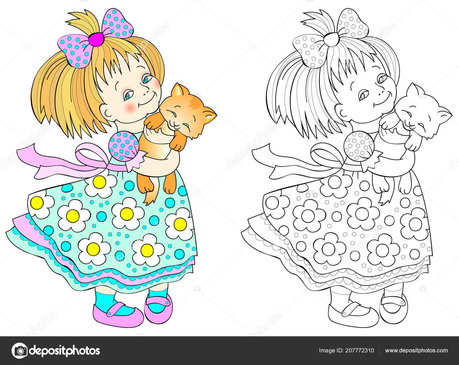 Padrão Colorido Preto Branco Para Colorir Desenho Menina