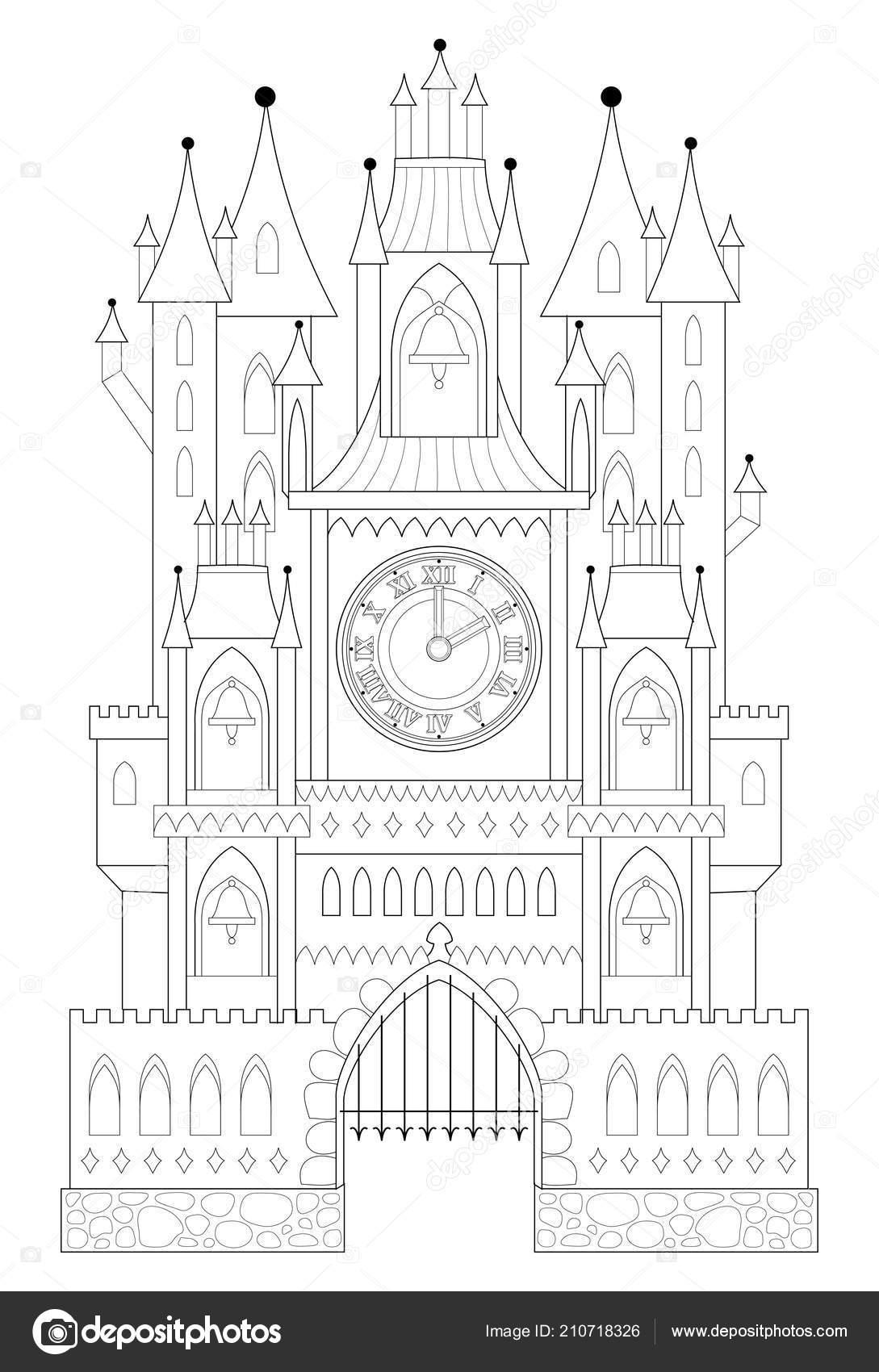 Página Para Colorear Blanco Negro Dibujo Castillo Medieval