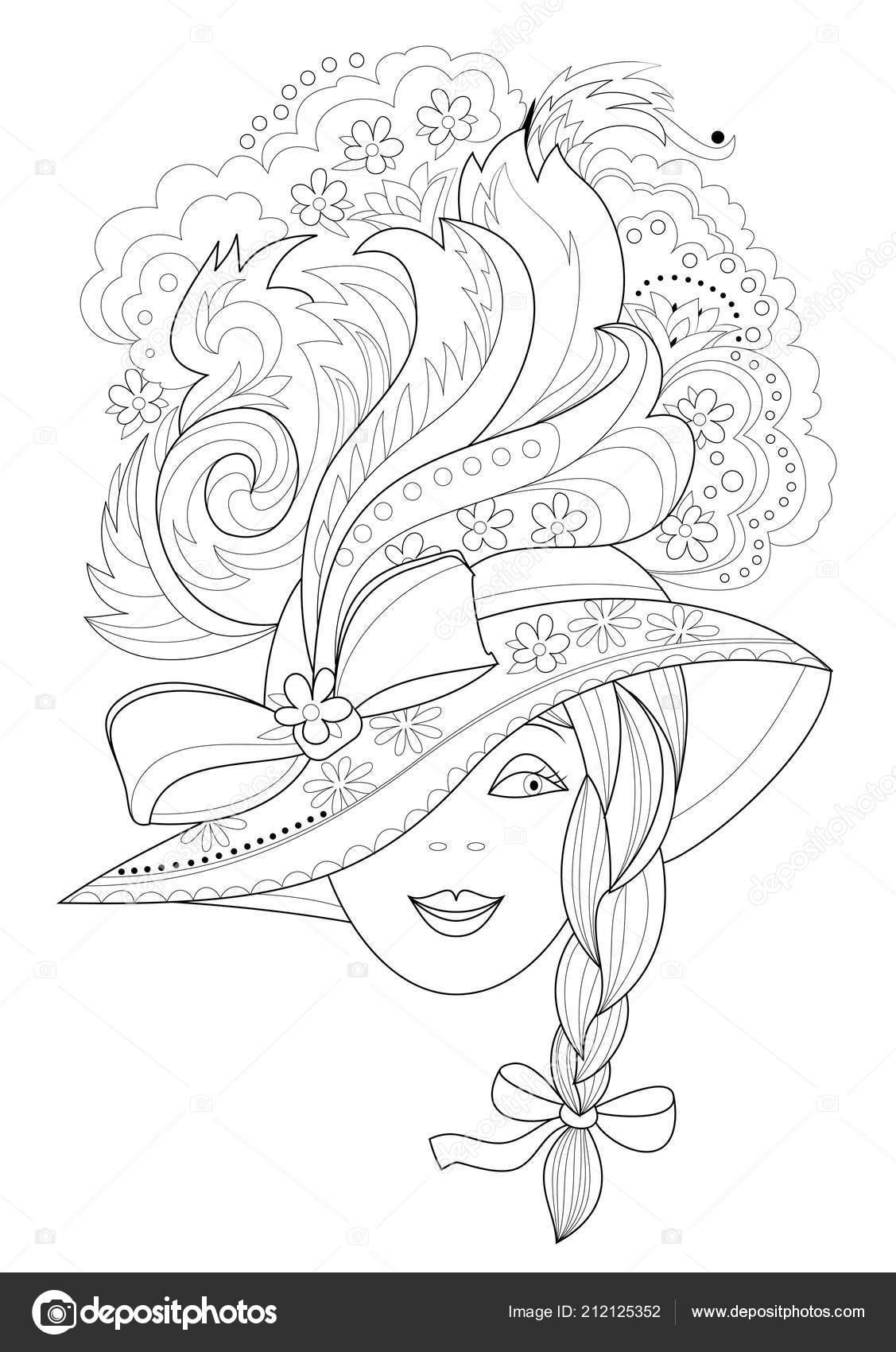 Black White Seite Zum Ausmalen Fantasy Zeichnen Von Schönen Mädchen