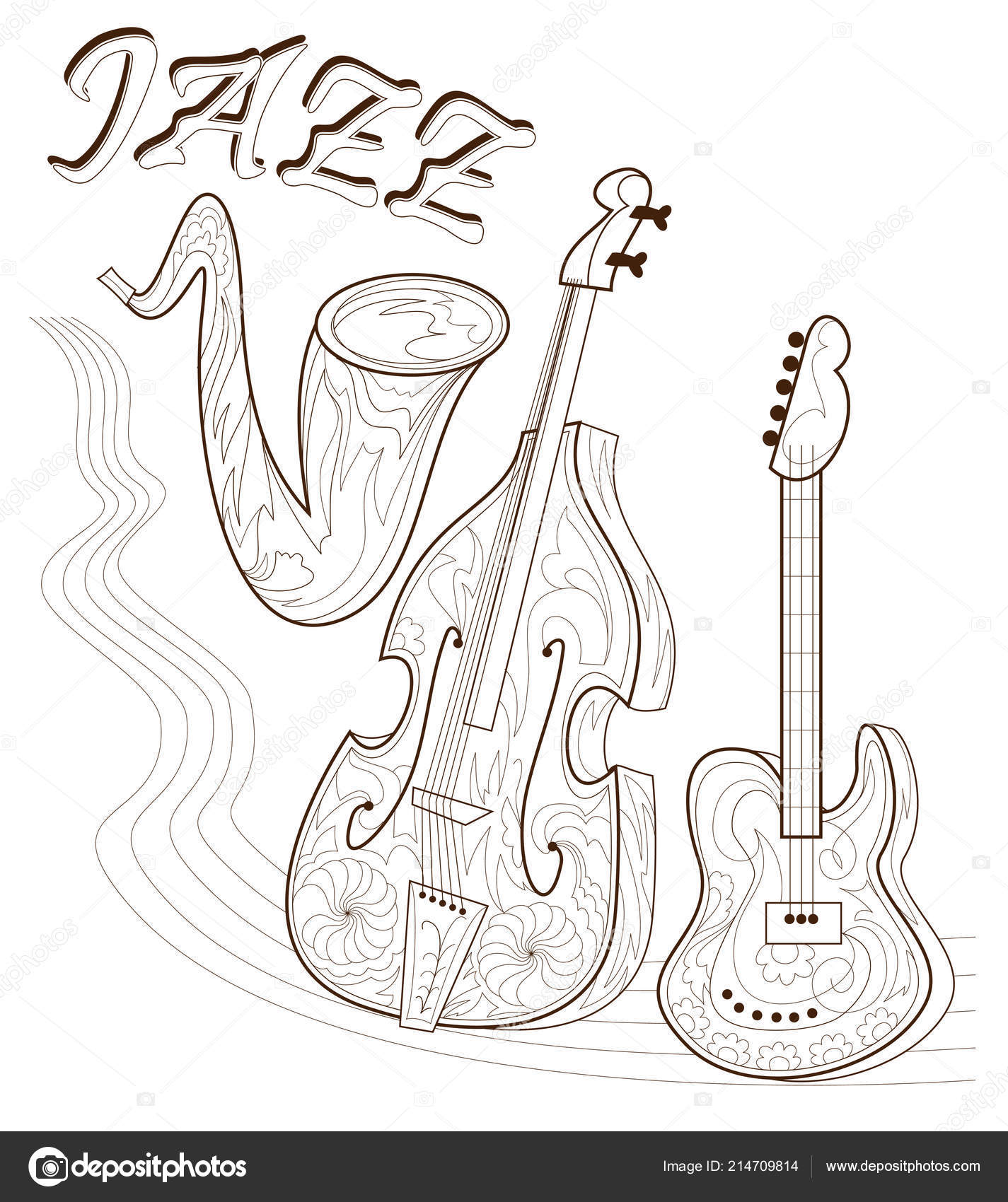 black white seite zum ausmalen satz von musikinstrumenten plakat f r stockvektor. Black Bedroom Furniture Sets. Home Design Ideas