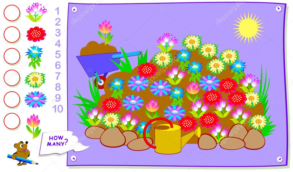 Educational page for kids. How many times can you find each of plant in spring flower bed? Count the quantity and write the numbers in circles. Vector cartoon image.