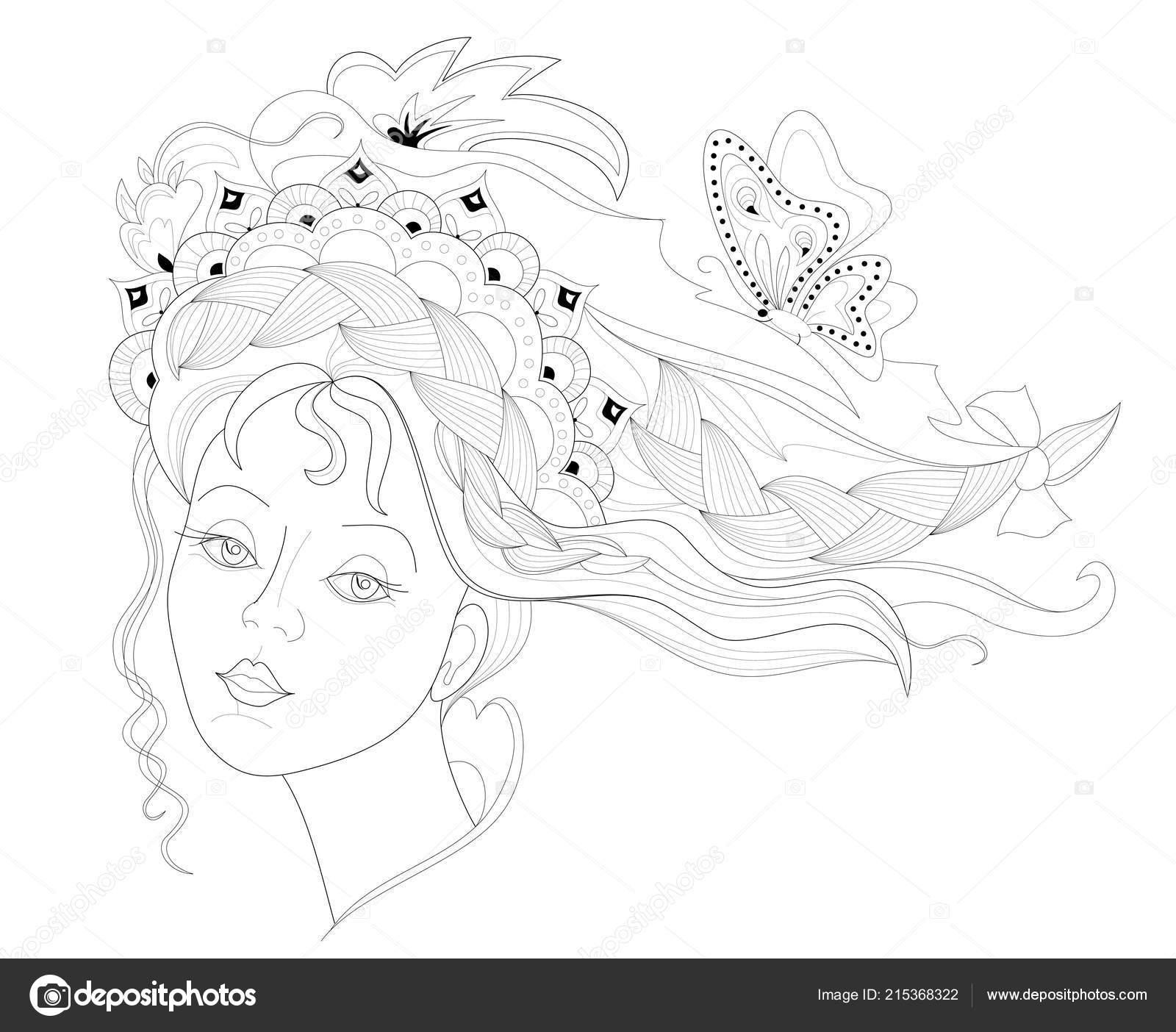 Siyah Beyaz Sayfa Boyama Moda Saç Modeli Ile Kadın Yüz Stok Vektör