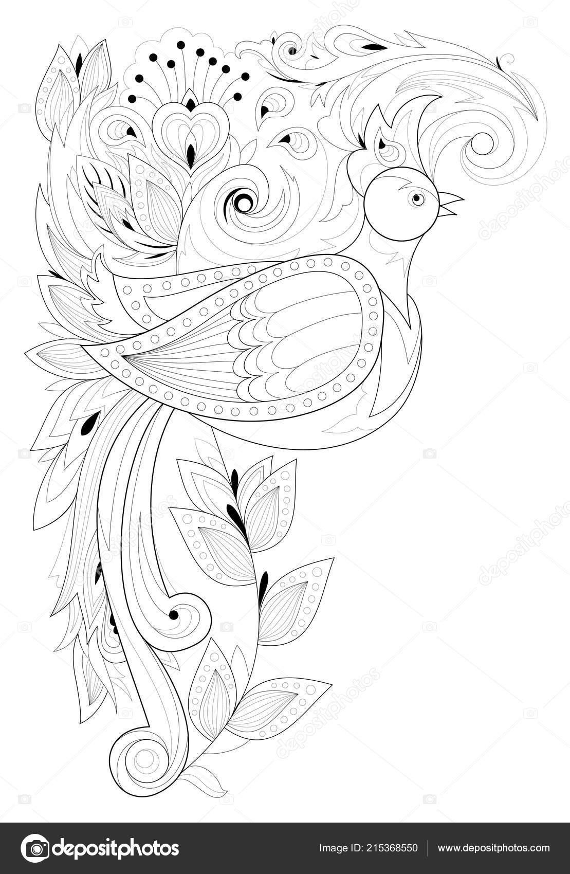 Página Para Colorear Blanco Negro Dibujo Flores Aves Del Hermoso ...