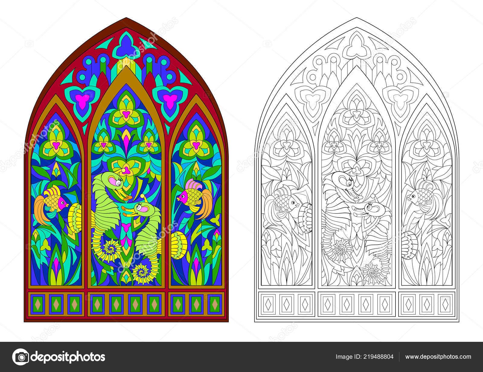 Gothic Vitray Pencere Güzel Sualtı Canlıları Ile Renkli Siyah Beyaz