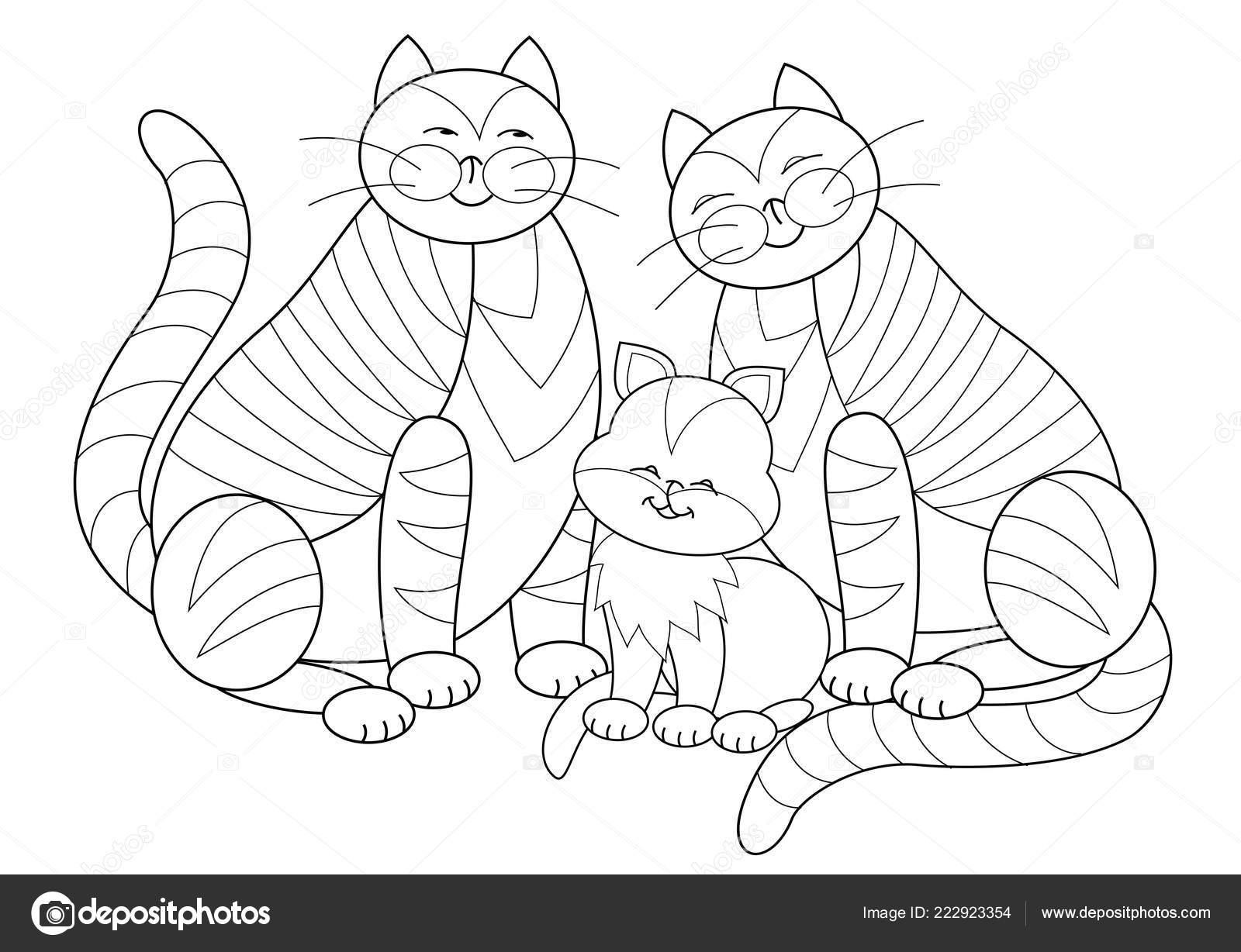 Siyah Beyaz Sayfa Boyama Kitabı çocuklar Için Mutlu Kedi Aile Stok