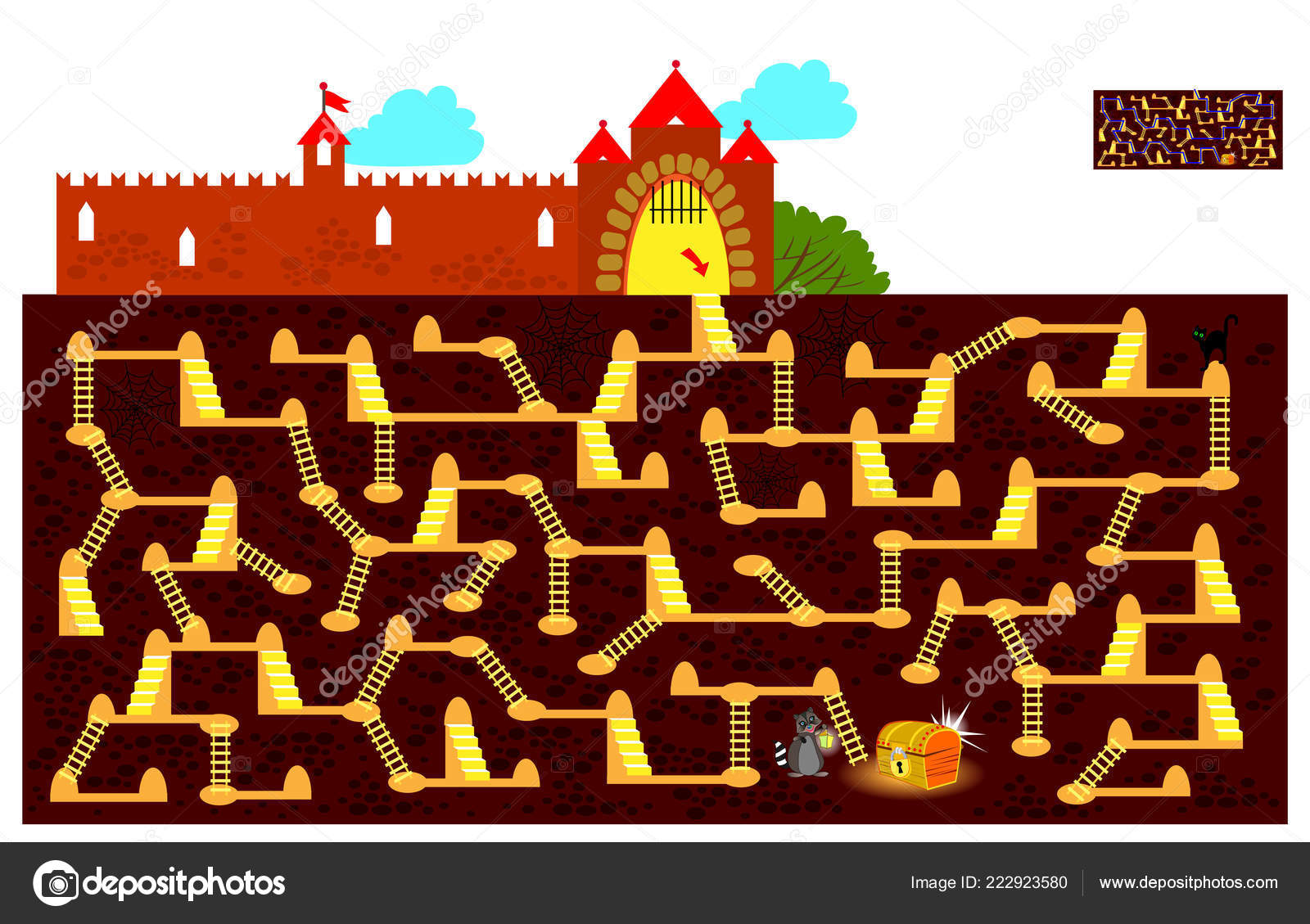 Logic Puzzle Game Labyrinth Children Adults Find Way Underground
