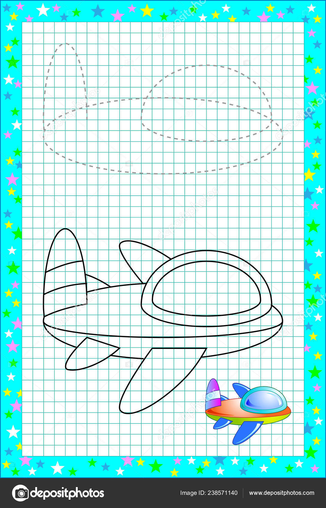 Educational Page Little Children Square Paper Need Draw Paint Cute Stock Vector C Nataljacernecka 238571140