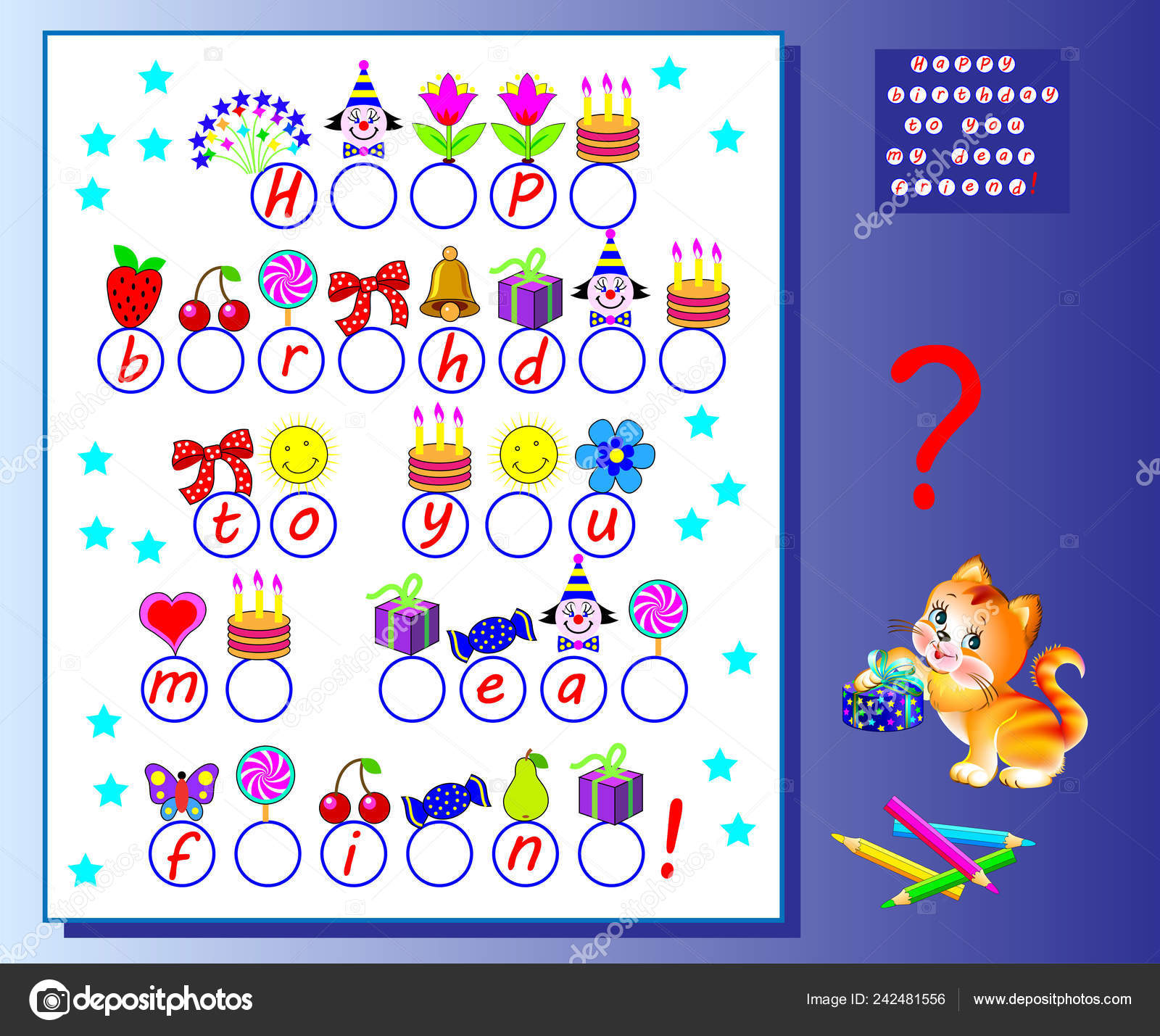 Happy Birthday Greeting Card Logic Puzzle Game Kids Exercises Study