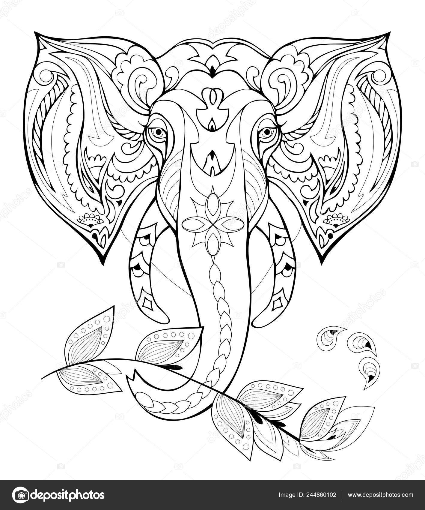 Stylized Elephant Head Black White Page Coloring Book Pattern Modern